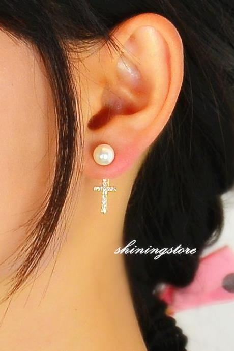 Pearl Ear Jacket with Cross - Pearls Front and back cross ear jacket - Gift for her, Bridesmaid gift