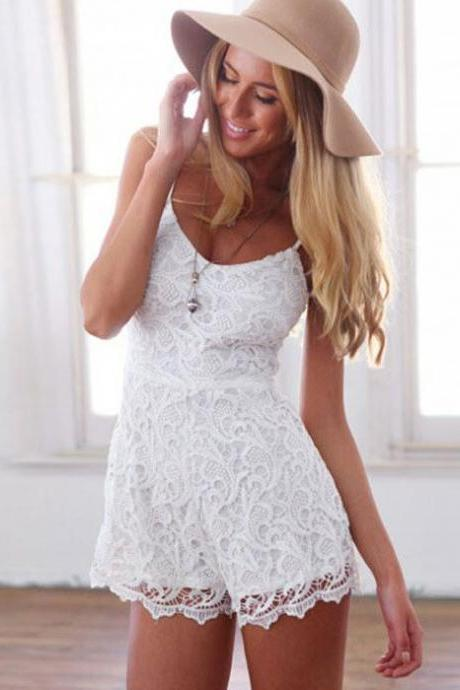 Lace Round Neck Braces Piece Shorts