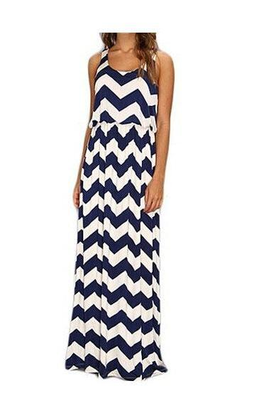 Wavy Stripes Sleeveless Long Dress