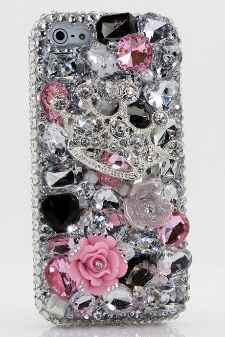 Bling Crystals Phone Case for iPhone 6 / 6s, iPhone 6 / 6s PLUS, iPhone 4, 5, 5S, 5C, Samsung Note 2, Note 3, Note 4, Galaxy S3, S4, S5, S6, S6 Edge, HTC ONE M9 (TIARAS AND TRINKETS DESIGN) By LuxAddiction