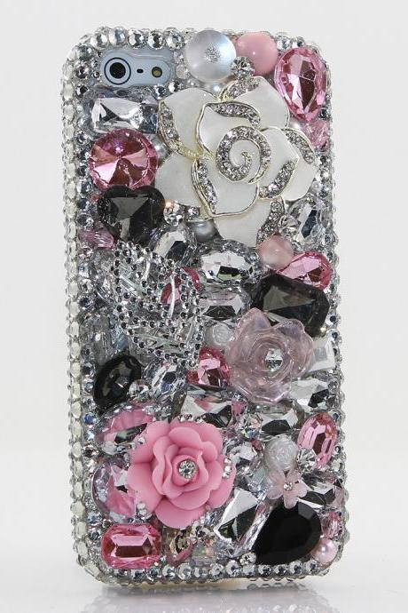 Bling Crystals Phone Case for iPhone 6 / 6s, iPhone 6 / 6s PLUS, iPhone 4, 5, 5S, 5C, Samsung Note 2, Note 3, Note 4, Galaxy S3, S4, S5, S6, S6 Edge, HTC ONE M9 (NEVER LEAF YOU DESIGN (NEVER LEAF YOU DESIGN) By LuxAddiction