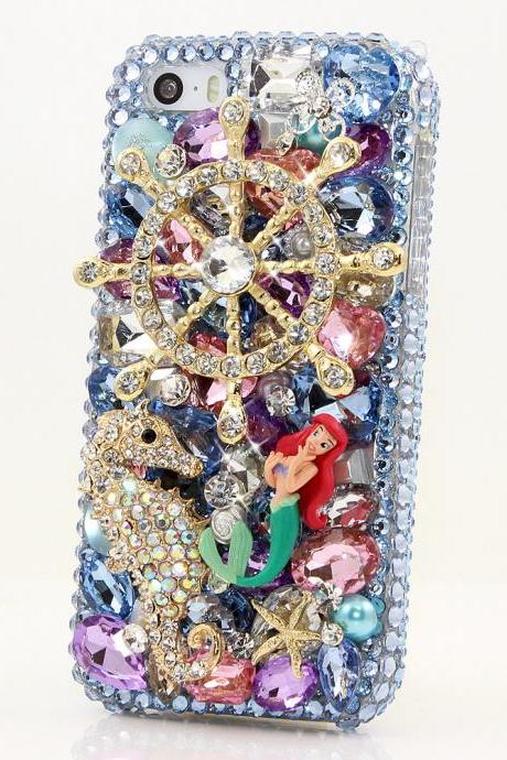 Bling Crystals Phone Case for iPhone 6 / 6s, iPhone 6 / 6s PLUS, iPhone 4, 5, 5S, 5C, Samsung Note 2, Note 3, Note 4, Galaxy S3, S4, S5, S6, S6 Edge, HTC ONE M9 (THE OCEAN DESIGN) By LuxAddiction