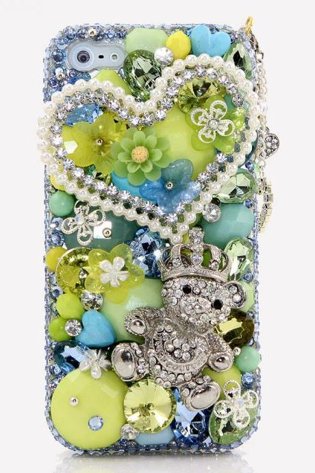 Bling Crystals Phone Case for iPhone 6 / 6s, iPhone 6 / 6s PLUS, iPhone 4, 5, 5S, 5C, Samsung Note 2, Note 3, Note 4, Galaxy S3, S4, S5, S6, S6 Edge, HTC ONE M9 (TEDDY BEAR TREASURES DESIGN) By LuxAddiction