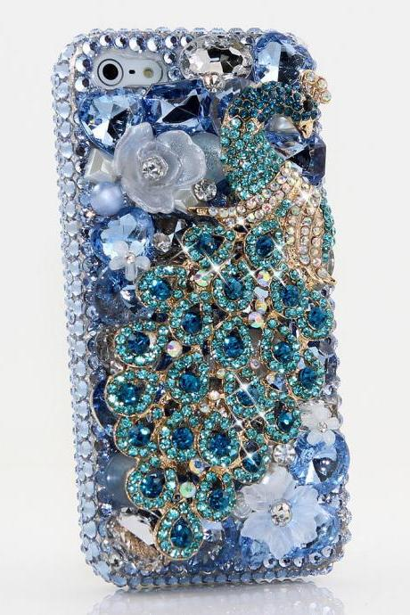 Bling Crystals Phone Case for iPhone 6 / 6s, iPhone 6 / 6s PLUS, iPhone 4, 5, 5S, 5C, Samsung Note 2, Note 3, Note 4, Galaxy S3, S4, S5, S6, S6 Edge, HTC ONE M9 (AQUA PEACOCK DESIGN) By LuxAddiction