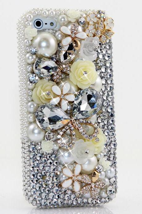 Bling Crystals Phone Case for iPhone 6 / 6s, iPhone 6 / 6s PLUS, iPhone 4, 5, 5S, 5C, Samsung Note 2, Note 3, Note 4, Galaxy S3, S4, S5, S6, S6 Edge, HTC ONE M9 (DIAMOND BUTTERFLY DESIGN) By LuxAddiction