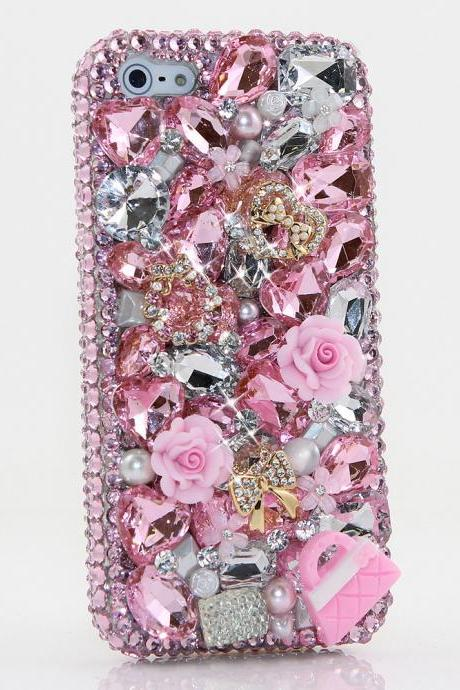 Bling Crystals Phone Case for iPhone 6 / 6s, iPhone 6 / 6s PLUS, iPhone 4, 5, 5S, 5C, Samsung Note 2, Note 3, Note 4, Galaxy S3, S4, S5, S6, S6 Edge, HTC ONE M9 (CRYSTAL HEART WITH LITTLE PINK PURSE DESIGN) By LuxAddiction