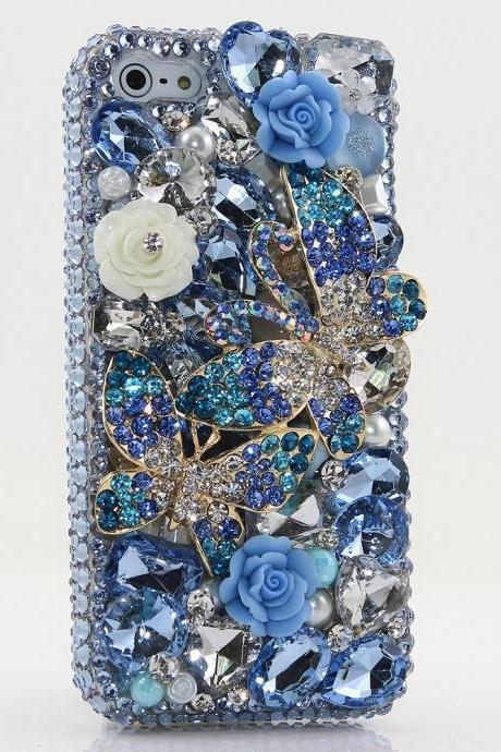 Bling Crystals Phone Case for iPhone 6 / 6s, iPhone 6 / 6s PLUS, iPhone 4, 5, 5S, 5C, Samsung Note 2, Note 3, Note 4, Galaxy S3, S4, S5, S6, S6 Edge, HTC ONE M9 (SPRING BLUE DOUBLE BUTTERFLY DESIGN) By LuxAddiction