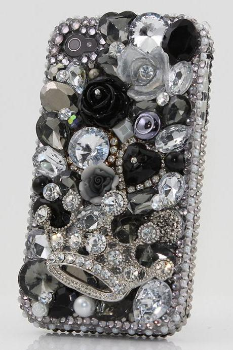 Bling Crystals Phone Case for iPhone 6 / 6s, iPhone 6 / 6s PLUS, iPhone 4, 5, 5S, 5C, Samsung Note 2, Note 3, Note 4, Galaxy S3, S4, S5, S6, S6 Edge, HTC ONE M9 (SILVER DIAMOND CROWN BLACK AND WHITE DESIGN) By LuxAddiction