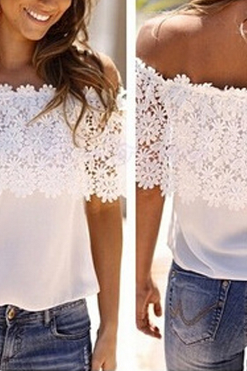 FASHION WHITE CHIFFON T-SHIRT
