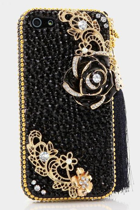 Bling Crystals Phone Case for iPhone 6 / 6s, iPhone 6 / 6s PLUS, iPhone 4, 5, 5S, 5C, Samsung Note 2, Note 3, Note 4, Galaxy S3, S4, S5, S6, S6 Edge, HTC ONE M9 (ELEGANT BLACK AND GOLD WITH TASSLE DESIGN) By LuxAddiction