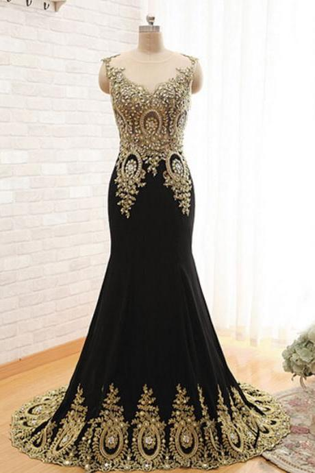 Black Mermaid Long Evening Dress, Cheap Elegant Formal Dress, Vintage Prom Dresses, Beaded Peacock Evening Gowns, Chiffon Evening Dress, Dresses For Prom