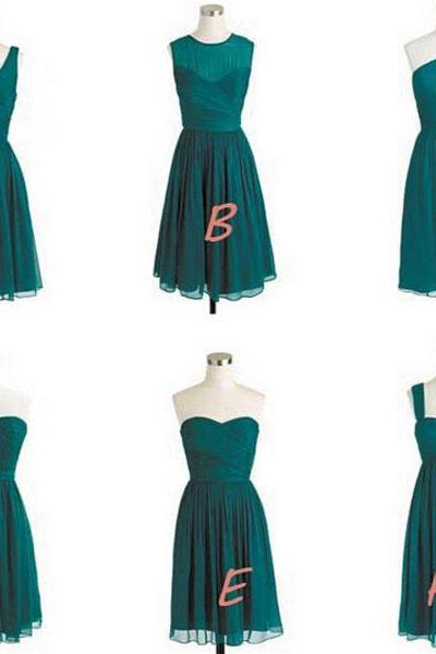 Hunter Green Short Bridesmaid Dresses, Cheap Bridesmaid Dress, Mismatch Bridesmaid Dress, Bridesmaid Dresses For Girls, Bridesmaid Robes, Cute Bridesmaid Gowns