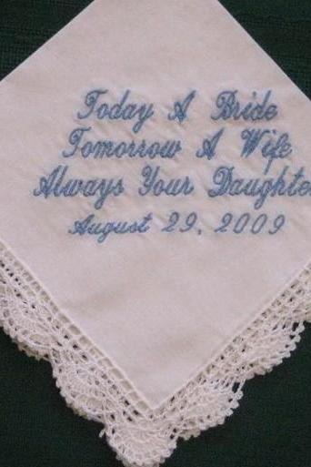 Personalized Wedding Gift - Wedding Handkerchief for Mother of the Bride with Gift Box 80S