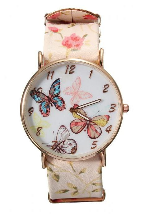 Butterfly watch, butterfly leather watch, beige bracelet watch, leather watch, bracelet watch, vintage watch, retro watch, woman watch, lady watch, girl watch, unisex watch, AP00309