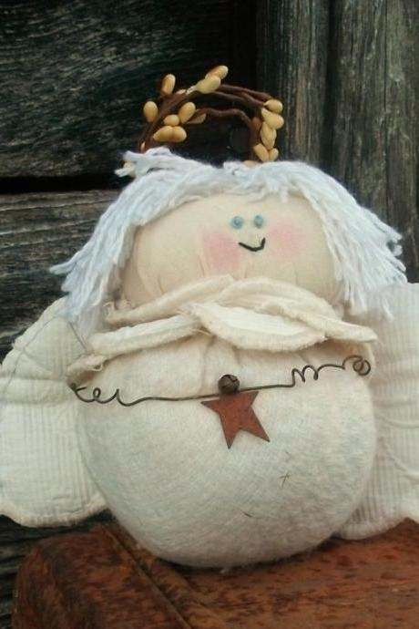 Primitive Angel Christmas Decoration - For Your Christmas Tree - Use as a Shelf Sitter or Tuck