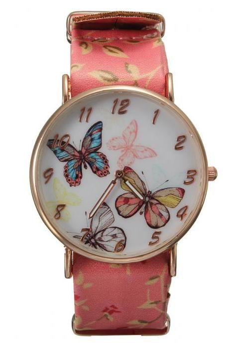 Butterfly watch, butterfly leather watch, pink bracelet watch, leather watch, bracelet watch, vintage watch, retro watch, woman watch, lady watch, girl watch, unisex watch, AP00310