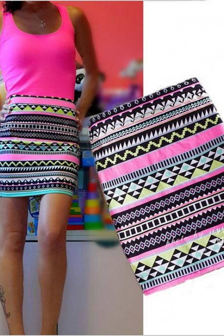 Tribal Print Tube Mini Skirt