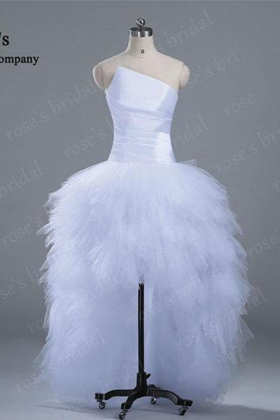 White High Low Wedding Ball Gowns, Cheap Simple Wedding Dress, Unique Wedding Dresses, Wedding Dress 2015, Front Short Back Long Dresses, Floor Length Bridal Gowns