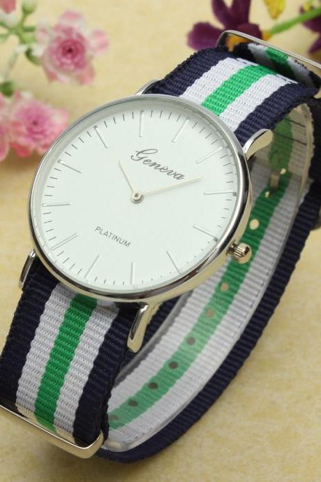 style watch, nylon canvas band watch, bracelet watch, vintage watch, retro watch, woman watch, lady watch, girl watch, unisex watch, AP00328