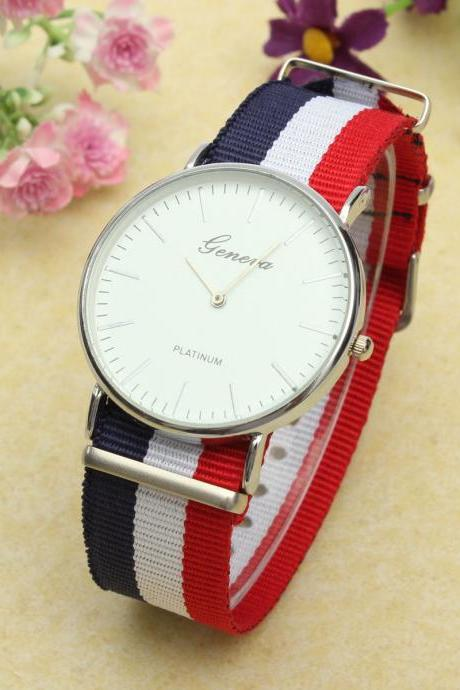 style watch, nylon canvas band watch, bracelet watch, vintage watch, retro watch, woman watch, lady watch, girl watch, unisex watch, AP00329