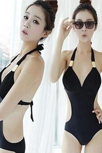 1387994 SEXY BLACK BEACH ONE-PIECE SWIMSUIT