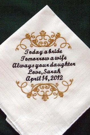 Personalized Wedding Handkerchief for Father of the Bride 126S with Gift Box