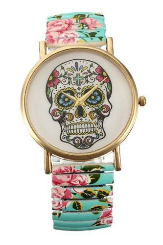 Skull watch, elastic band watch, bracelet watch, vintage watch, retro watch, woman watch, lady watch, girl watch, unisex watch, AP00337