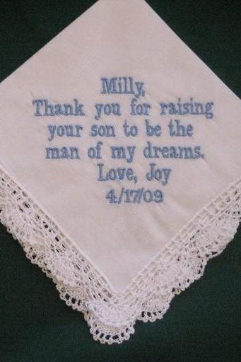Personalized Wedding Gift- Wedding Handkerchief for Mother of the Groom with Gift Box 87B