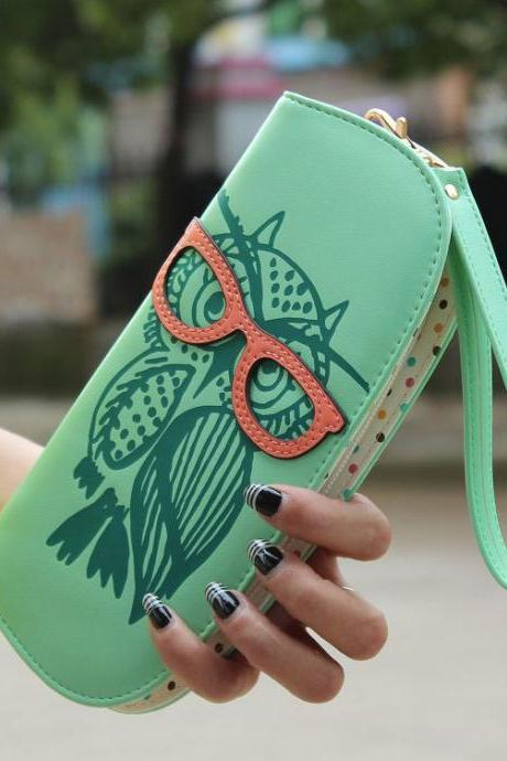 Cute Owl Glasses Hit Color Printing Round Zipper Wallet