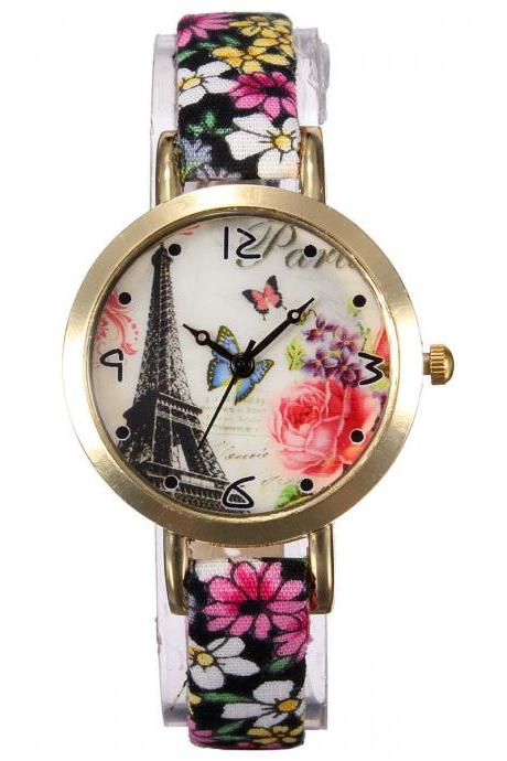 Eiffel Tower watch, thin leather band watch, bracelet watch, vintage watch, retro watch, woman watch, lady watch, girl watch, unisex watch, AP00349