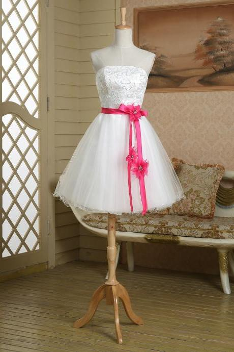 Cute white knee length short tulle corset lace up sequin beading hot pink satin sash belt couture prom dress,evening dress,homecoming dress,party dress,bridesmaid dress wedding,club,cocktail dress,birthday ,graduation dress,pageant dress