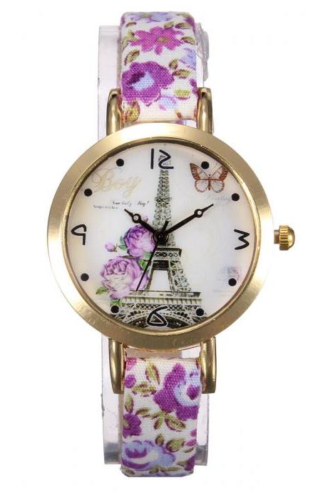 Eiffel Tower watch, thin leather band watch, bracelet watch, vintage watch, retro watch, woman watch, lady watch, girl watch, unisex watch, AP00354
