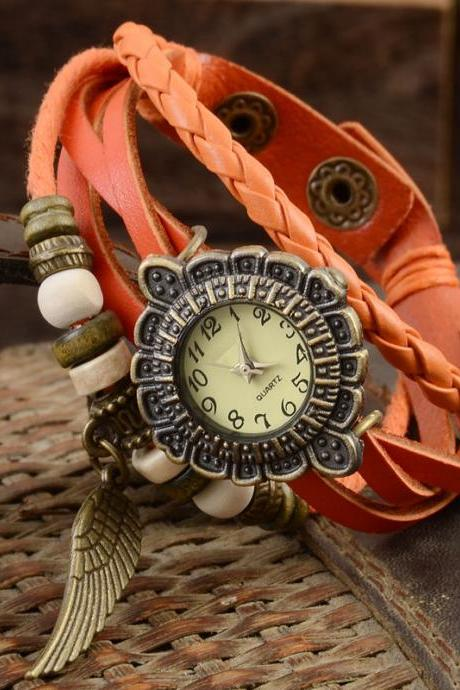 Feather watch, feather leather watch, light brown bracelet watch, leather watch, bracelet watch, vintage watch, retro watch, woman watch, lady watch, girl watch, unisex watch, AP00360