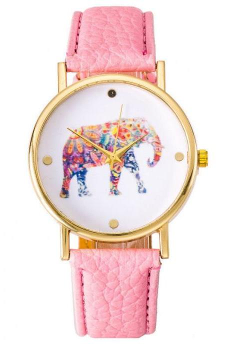 National wind women watch, elephant leather watch, pink watch, leather watch, bracelet watch, vintage watch, retro watch, woman watch, lady watch, girl watch, unisex watch, AP00368