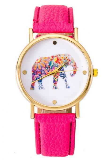 National wind women watch, elephant leather watch, hot pink watch, leather watch, bracelet watch, vintage watch, retro watch, woman watch, lady watch, girl watch, unisex watch, AP00370