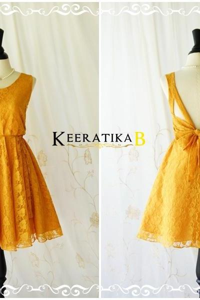A Party V Shape Dress Dark Mustard Roses Lace Backless Dress Mustard Lace Cocktail Prom Dress Mustard Lace Wedding Bridesmaid Dresses XS-XL