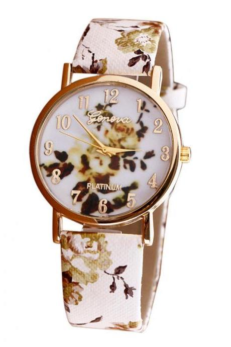 Flower leather band watch, bracelet watch, vintage watch, retro watch, woman watch, lady watch, girl watch, unisex watch, AP00382