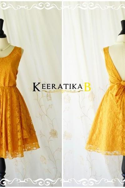 A Party V Charming Dress Dark Mustard Lace Backless Dress Mustard Lace Party Dress Lace Wedding Bridesmaid Dress Cocktail Prom Dresses XS-XL