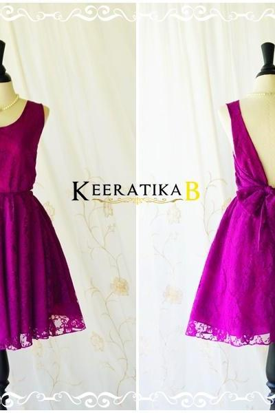 A Party V Charming Dress Magenta Purple Lace Dress Dark Magenta Backless Party Dress Lace Wedding Bridesmaid Dress Cocktail Prom Dress XS-XL