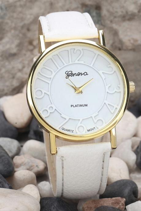 Fashion watch, fashion leather watch, white leather watch, bracelet watch, vintage watch, retro watch, woman watch, lady watch, girl watch, unisex watch, AP00392