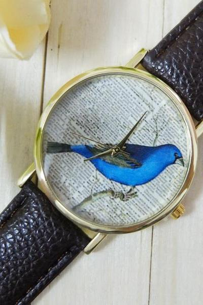Newspaper bird watch, bird leather watch, black leather watch, bracelet watch, vintage watch, retro watch, woman watch, lady watch, girl watch, unisex watch, AP00394