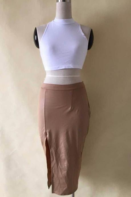 Hot two piece white brown dress