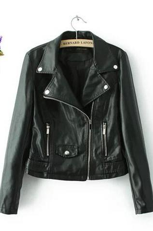 Classic Rivets Embellished Faux Leather Jacket