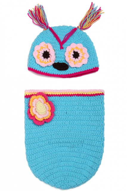 Owl sleeping bag Hand knitted wool clothes photo prop one hundred days newborn baby photography baby clothes joker pictures clothes