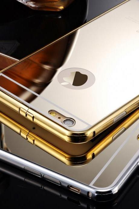 2 in 1 Brand Luxury Gold mirror case cover for iPhone 6 iPhone 6 Plus,Coque iPhone 6 6 Plus