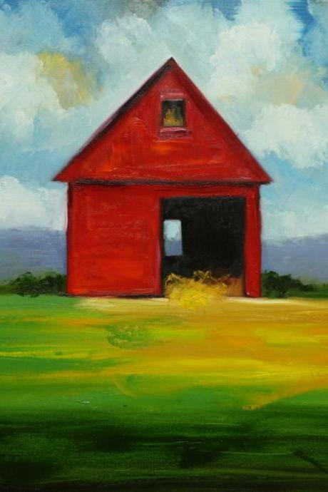 Landscape #193 - 24x24' original oil red barn painting by Roz