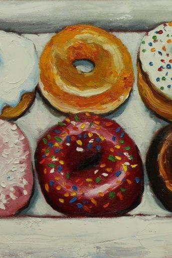 Donuts #10 - 18x24' original oil still life donuts painting by Roz