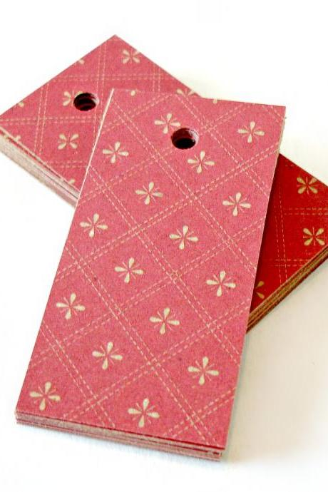 Red patterned kraft tags mini tags merchandise tags gift tags 3 dozen