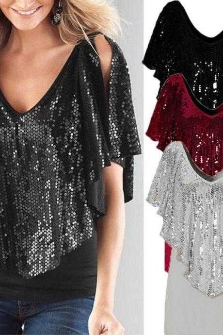 Stylish Lady V Neck Sequin Loose Short Batwing Sleeve Casual Tops T-Shirt Blouse