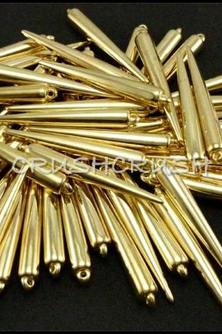 50pcs 1-5/16' (33mm) Gold Basketball Wives Spikes Charms Pendants Beads X59